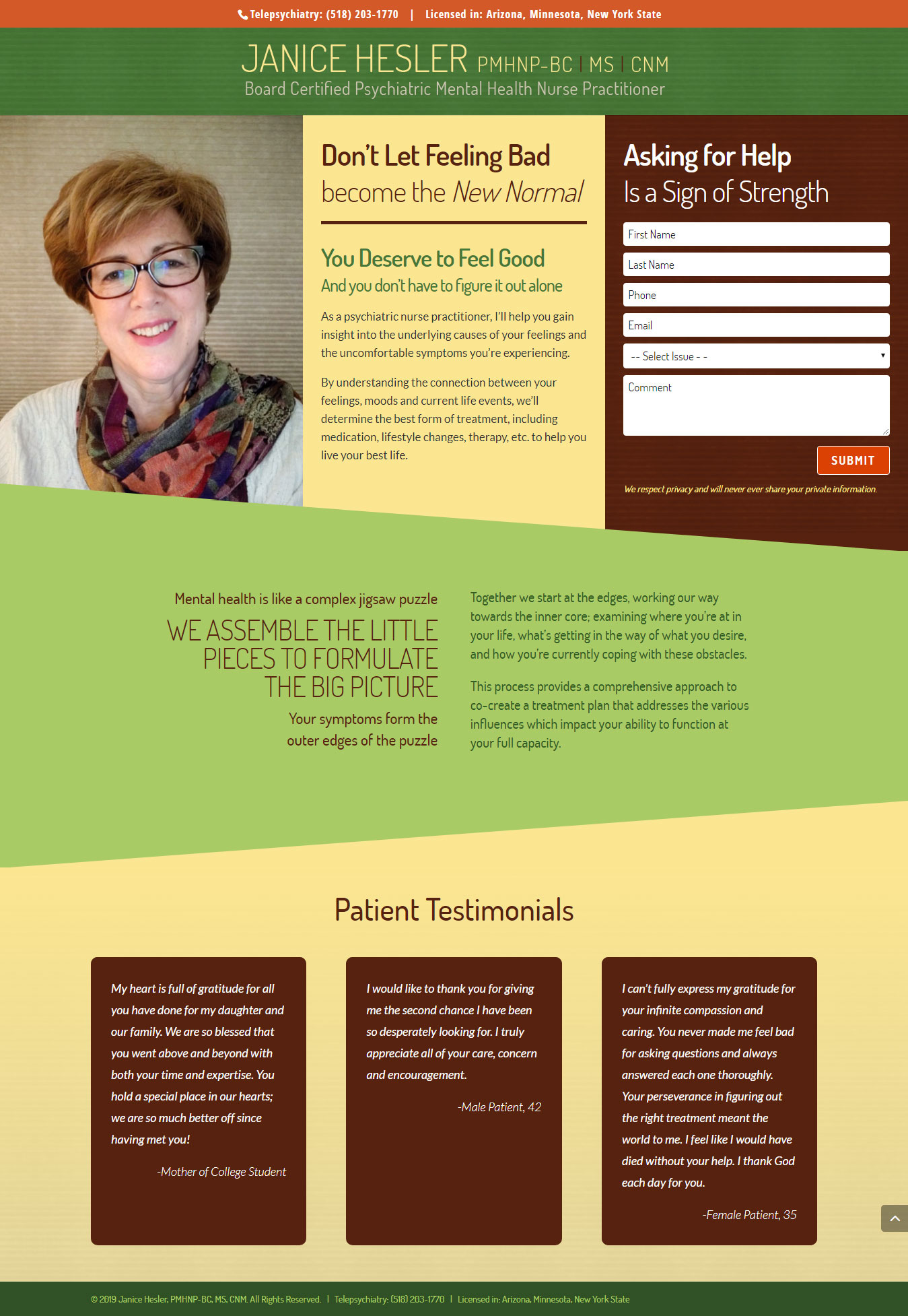 Website Design for a Psychiatric Nurse Practitioner
